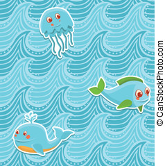 vector ocean seamless pattern with cartoon fishes