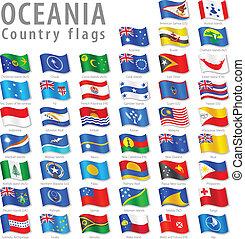 vector, oceanian, bandera nacional, conjunto