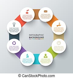 Vector octagon with circles for infographic.