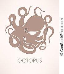 Vector octopus sillhouette - Vector illustration of circle...