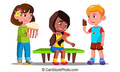vector., odizolowany, razem, jedzenie, grupa, dziewczyny, chłopcy, ilustracja