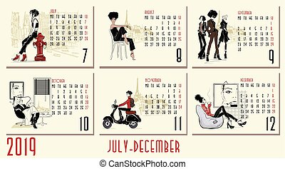 Vector of 2019 new year calendar with fashion women
