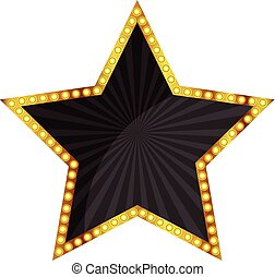 vector of a black star with a gold frame