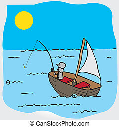 Vector of a boat in high sea. - Vector cartoon illustration...