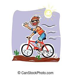 Vector of a boy cycling