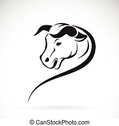 Vector of a bull head on a white background.