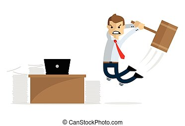 Vector of a businessman angry and destroying his laptop and his desk