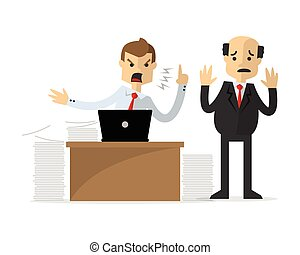 Vector of a businessman angry to his boss