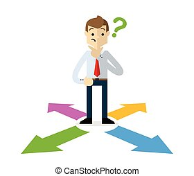 Vector of a businessman choosing a right direction 2