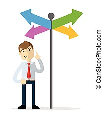 Vector of a businessman choosing a right direction