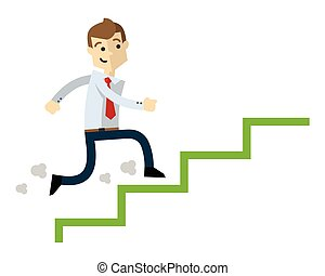 Vector of a businessman climb up stairs, job promotion