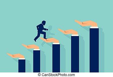 Vector of a businessman climbing a career ladder made of human hands helping him.