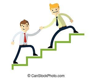 Vector of a businessman doing a teamwork