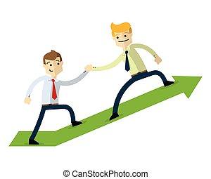 Vector of a businessman doing a teamwork. With a green arrow up