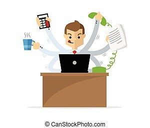 Vector of a businessman doing multitasking work