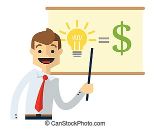 Vector of a businessman doing presentation