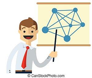 Vector of a businessman doing presentation