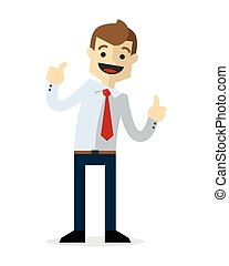 Vector of a businessman doing thumbs up