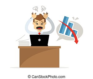 Vector of a businessman get a headache because of his unsuccessful work