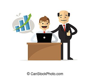 Vector of a businessman get a successful work, congratulated by his boss
