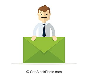 Vector of a businessman holding a letter mail