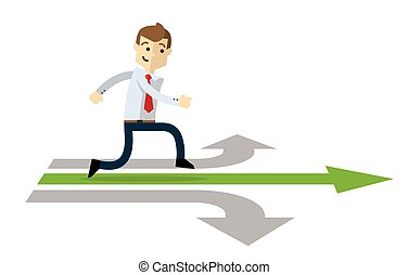 Vector of a businessman in a right path of his career.