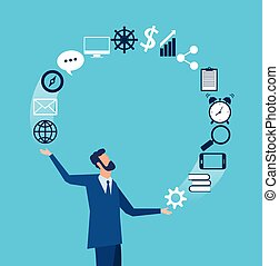Vector of a businessman juggling business icons.
