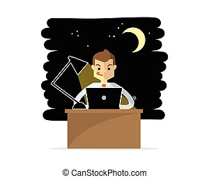 Vector of a businessman or employee doing overtime work