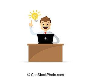 Vector of a businessman or employee get an idea