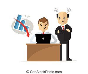 Vector of a businessman or employee get unsuccessful work, watched by his boss