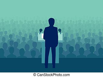 Vector of a businessman or politician speaking to a large crowd of people