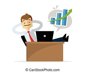 Vector of a businessman relaxing after knowing his...