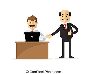 Vector of a businessman shake hand with his boss