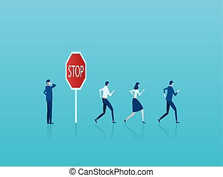 Vector of a businessman thinking of risks at stop sign while crowd of businesspeople running forward