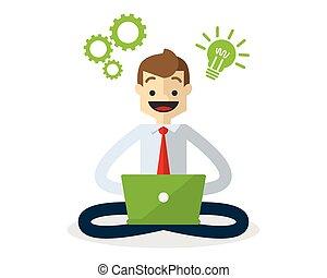 Vector of a businessman with a creative idea