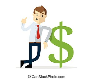 Vector of a businessman with a dollar sign