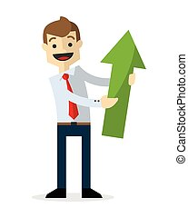 Vector of a businessman with a green arrow up