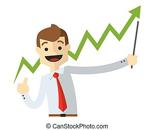 Vector of a businessman with a line chart up