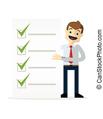 Vector of a businessman with a list of check marks