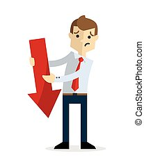 Vector of a businessman with a red down arrow