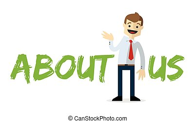 Vector of a businessman with About Us text