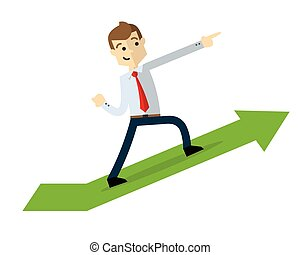 Vector of a businessman with arrow chart up