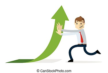 Vector of a businessman with arrow up