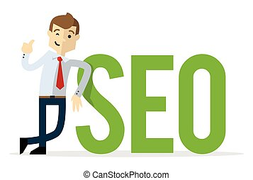 Vector of a businessman with big SEO text, with thumb up gesture