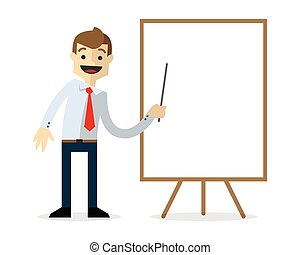 Vector of a businessman with blank white board