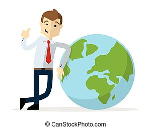 Vector of a businessman with earth icon and doing thumb up