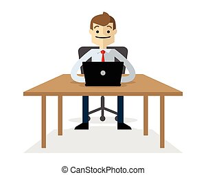 Vector of a businessman with his laptop 2