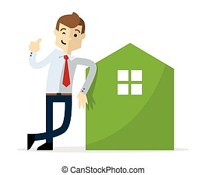 Vector of a businessman with home icon and thumb up