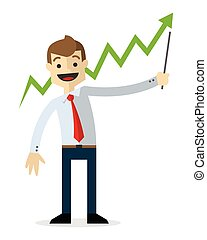 Vector of a businessman with line chart up 2