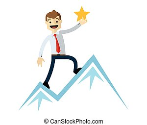 Vector of a businessman with mountain an star as he achieve a success